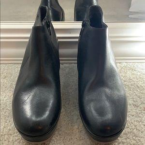 Camper black leather booties